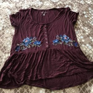 Wine color Peasant top with flower